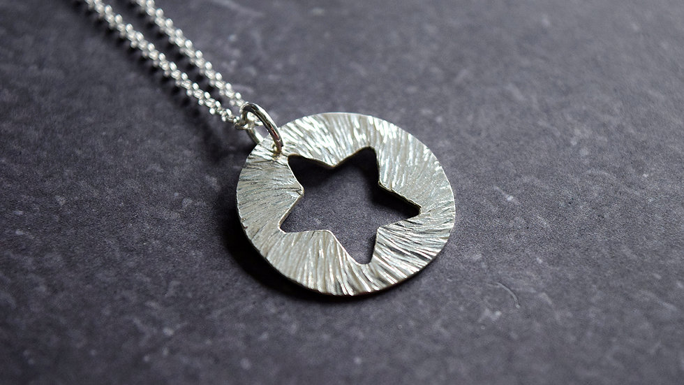 Round Silver Moon and Star Pendant with Hammered Texture