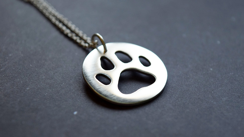 Small Silver Paw Print Pendant