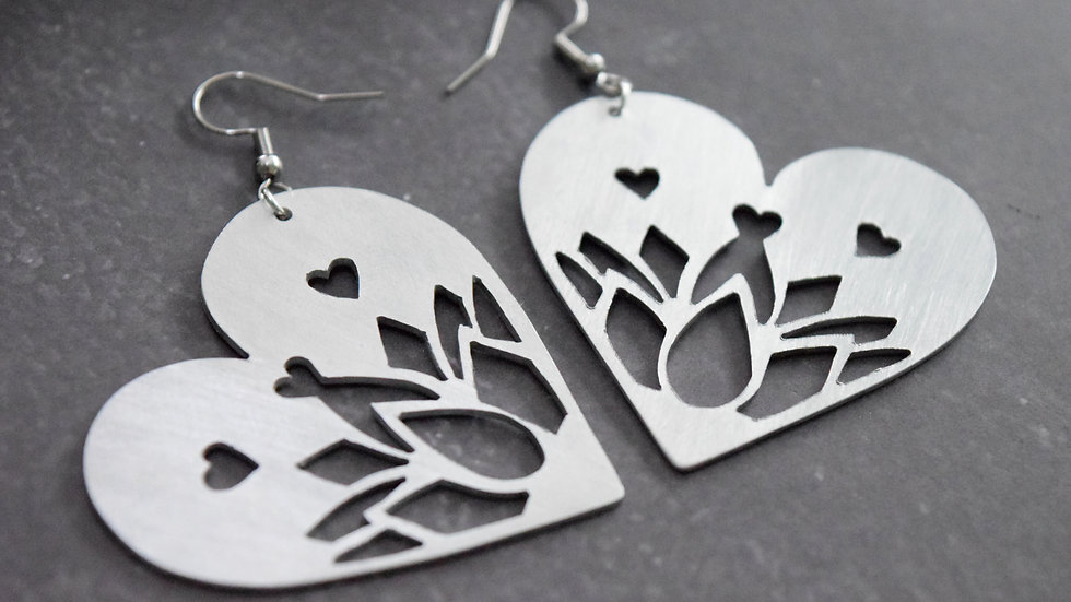Lotus Heart Earrings