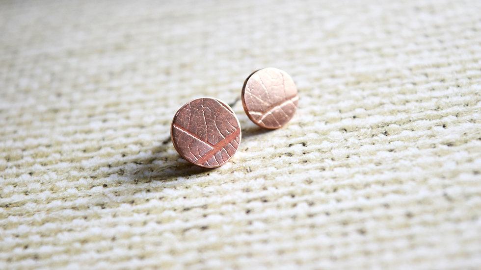 Leaf Detail Copper Studs