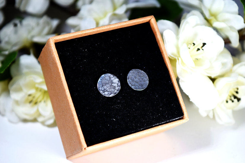 Textured Circle Silver Studs