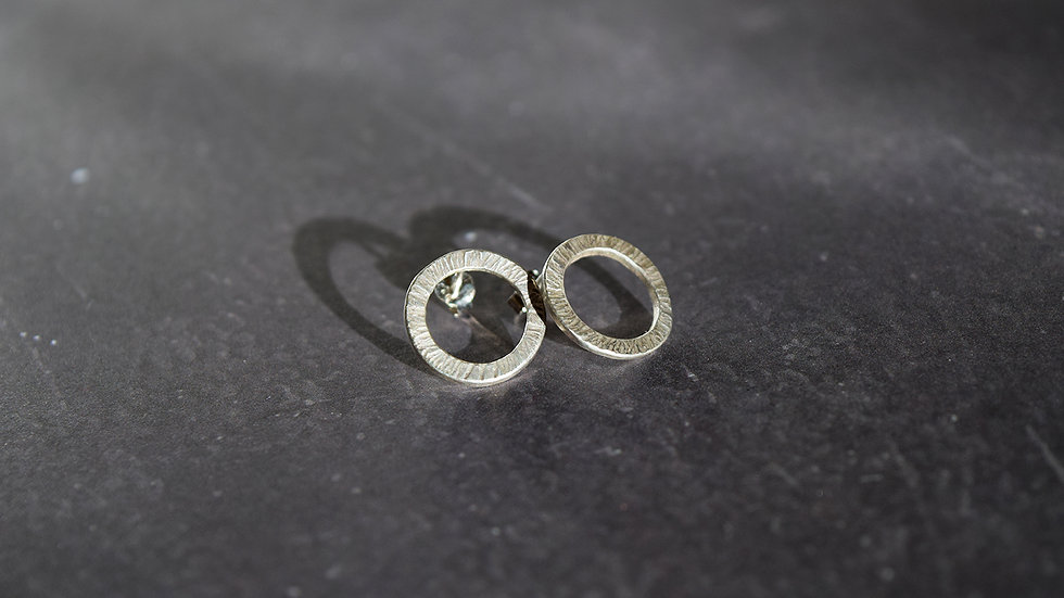 Small Textured Ring Silver Studs