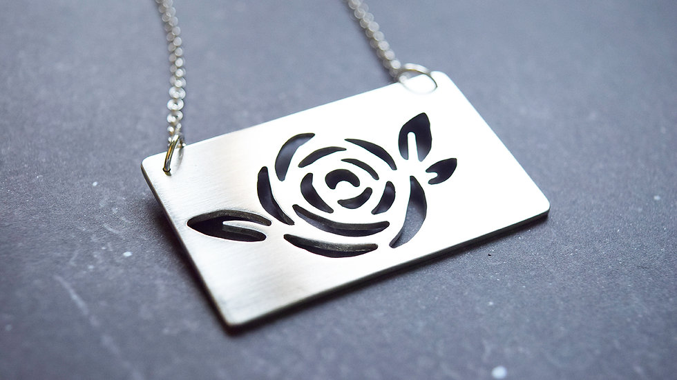 Large Silver Rose Pendant