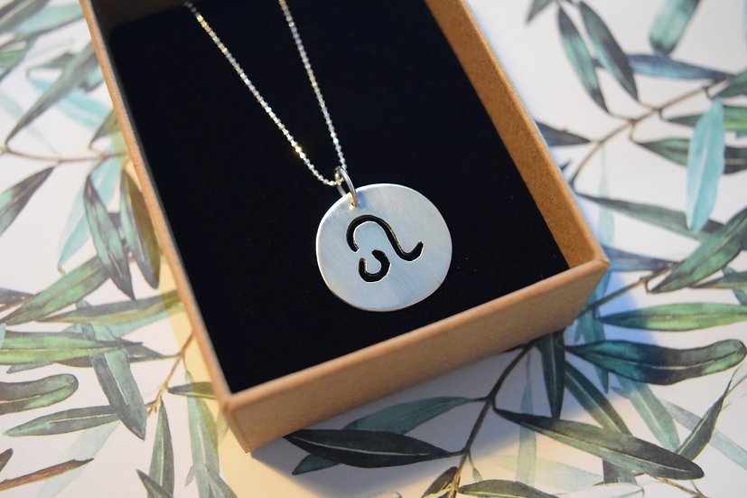 Simple Round Silver Star Sign Pendant