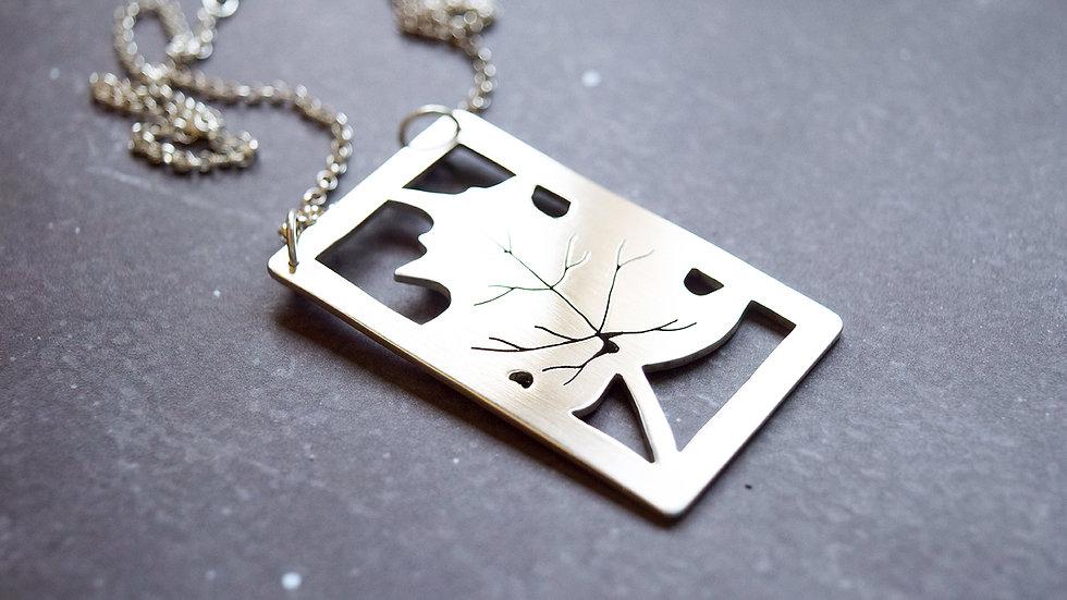Large Silver Maple Leaf Pendant