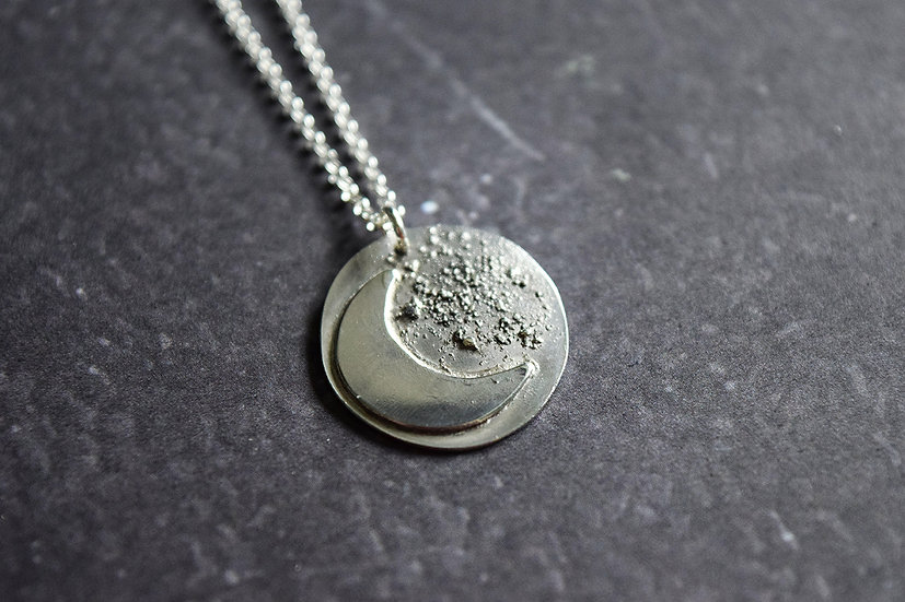 Small Silver Moon and Stardust Pendant