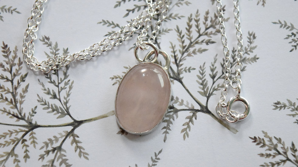 Oval Rose Quartz Pendant