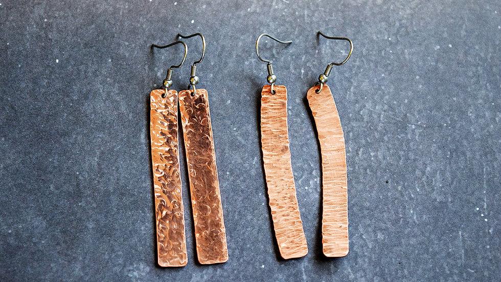 Copper Textured Earrings