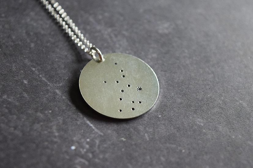 Silver Round Star Sign Constellation Pendant