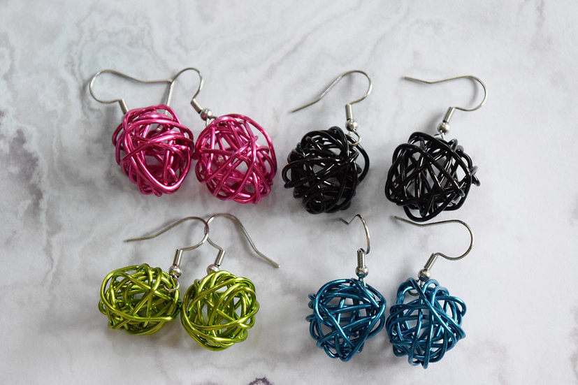 Wire Scribble Earrings- Brights