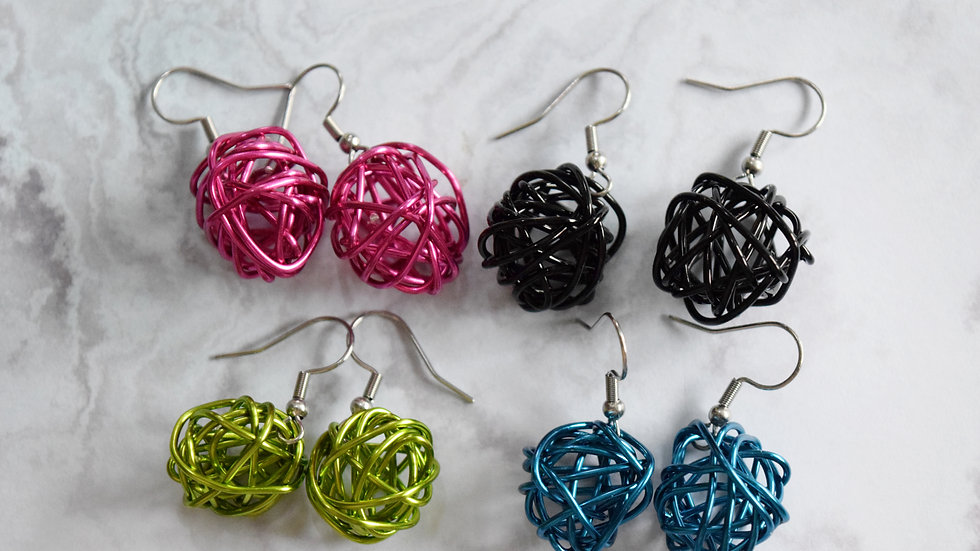 Wire Scribble Earrings- Brights