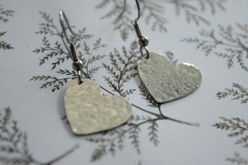 Textured Heart Drop Earrings