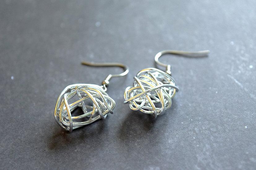 Aluminium Wire Scribble Earrings