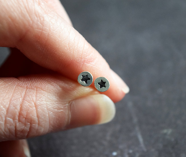 Set of Three Silver Moon and Star Studs