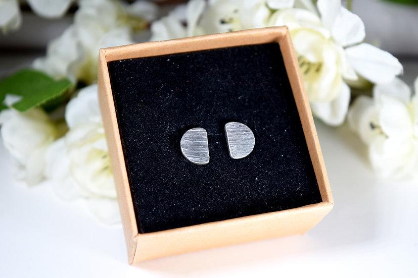 Small Semi-Circle Textured Silver Studs
