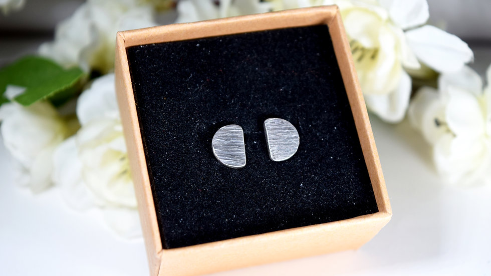 Small Semi-Circle Textured Silver Studs