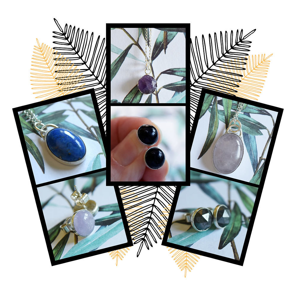 THe image shows six different photos of various oval pendants and round stud earrings. They all have different gemstones set in them including: lavender amethyst, lapiz lasuli, onyx and hematite.