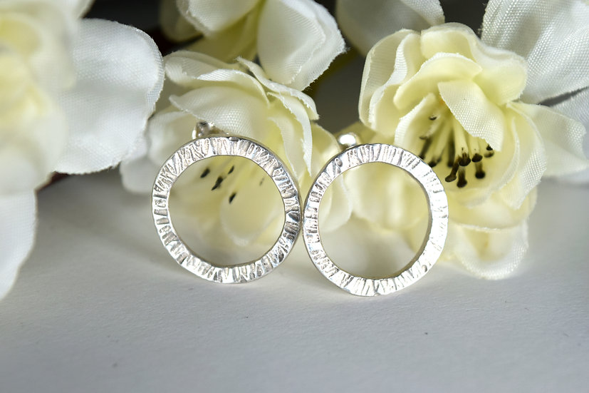 Large Textured Ring Silver Studs