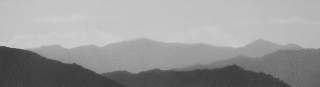 Cerros occidentales desde el estudio de la Abuela Atómica 2 grafito sobre papel 6 x 22 cm