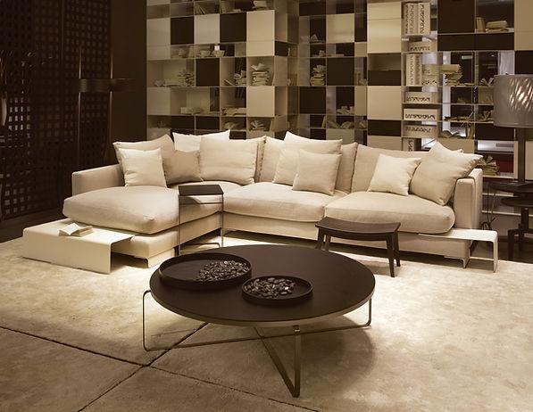 Algarve lounge interior design with custom sofa and table