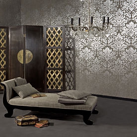 Interior design with Chaise and custom wallpaper