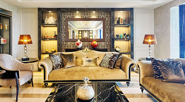 Interior design with custom sofas and mirror tv