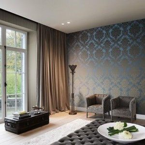 Interior design bedroom with custom wallpaper