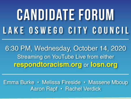 Watch a recording of Candidate Forum for Lake Oswego City Council