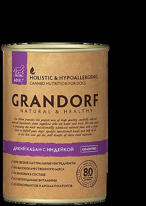 Grandorf Индейка и Дикий кабан консервы для собак 400 гр.