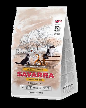Savarra для кошек с избыточным весом и стерилизованных, с индейкой и рисом 2кг