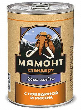 Мамонт Стандарт Говядина с рисом влажный корм для собак 970гр