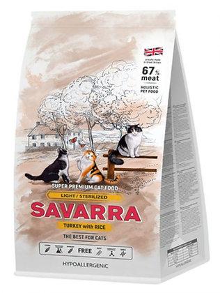 Savarra для кошек с избыточным весом и стерилизованных, с индейкой и рисом 400г.