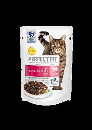 Perfect Fit Adult для взрослых кошек с говядиной в соусе 85 гр.