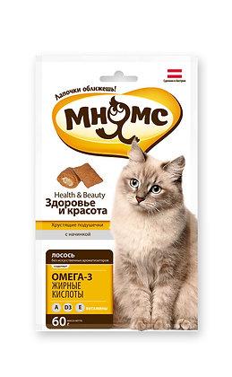 Мнямс хрустящие подушечки для кошек с лососем 60 гр.