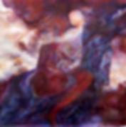 Peinture à l'huile représantation d'une femme amazone sur cheval qui embrasse un enfant dans les nuages