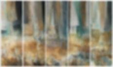 5 tableaux, image de l'eau de l'ardèche et couleurs magnifique de vert et de bleu