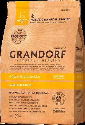 "Grandorf MINI Breeds ""4 мяса с бурым рисом"" 1 кг."