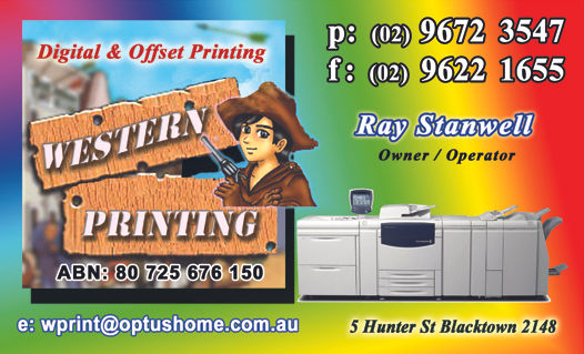 Western Printing, Business Cards, Invoice Books, Leaflets, Flyers, Brochures, Letterheads, Raffle Tickets, Photo's, Newsletters, Posters, Menu's