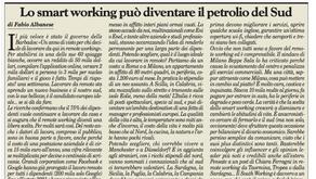 Mio articolo su Milano Finanza.               Il South Working, petrolio del Sud.