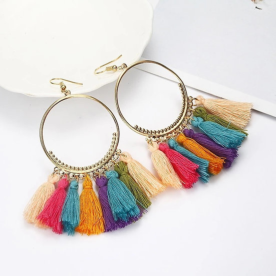 SANDY Circle earrings with coloured frill