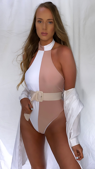 NAOMI White and Beige Contrast High Neck One Piece