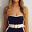 Thumbnail: OLIVIA Black and white belted swimsuit