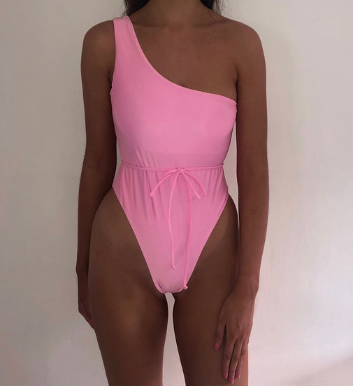 ALINA One shoulder high leg swimsuit with tie waist