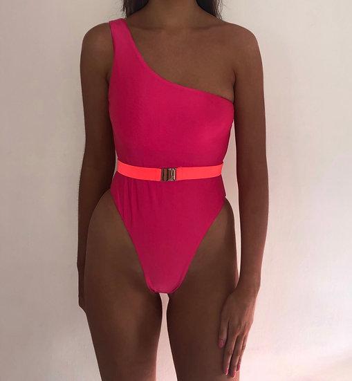 MEGHAN One shoulder belted high leg swimsuit