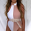 Thumbnail: NAOMI White and Beige Contrast High Neck One Piece