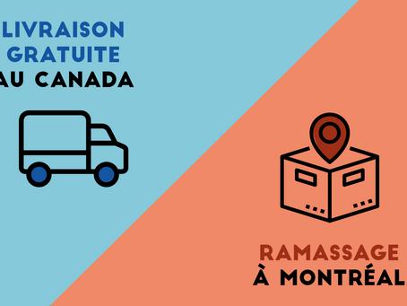Pizi Masques offre la livraison gratuite au Canada ainsi qu'un point de ramassage à Montréal !