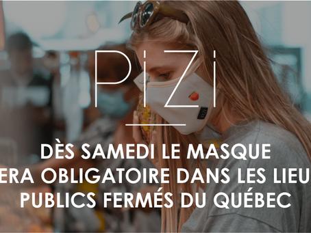 Dès samedi le masque sera obligatoire dans les lieux publics fermés du Québec