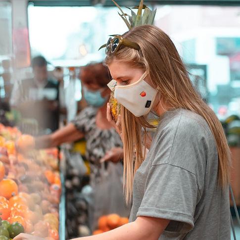 masque lavable réutilisable fait au québec acheter montréal COVID tissu design femme épicerie