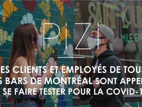 Les clients et employés de tous les bars de Montréal sont appelés à se faire tester pour la COVID-19