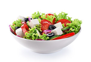 Salad with cheese and fresh vegetables i